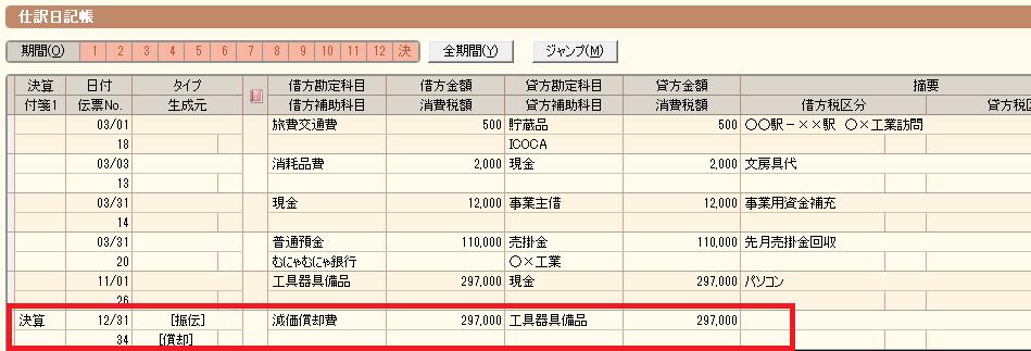 仕訳日記帳